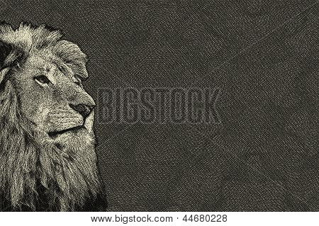 3D Sepia Toned Isolated Lion Face Card