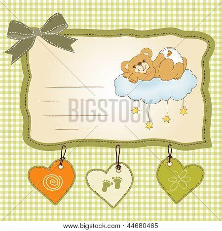 Baby Shower Card With Sleepy Teddy Bear