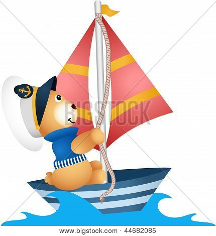 Teddy bear sailor in a boat
