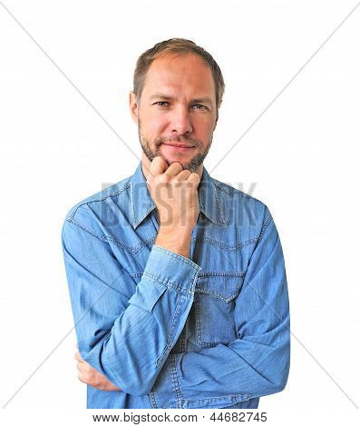 Reflect Man In Denim Shirt Isolated On The White Background