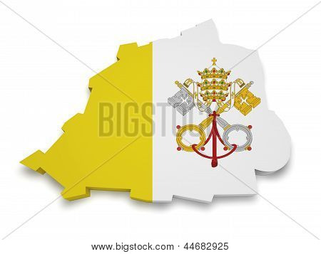 Vatican City Map Flag 3D Shape