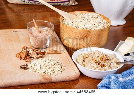 Oatmeal With Spices And Butter With Blue Towel