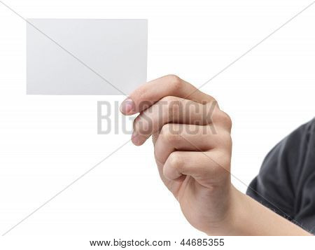 Female Teen Hand Holding Blank Visiting Card