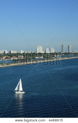 Sailboat In South Beach Miami Florida