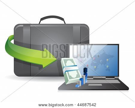 Business Laptop And Suitcase Illustration Design