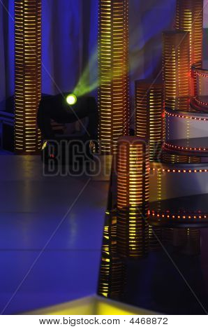Stage Lights Studio Prepared For Production And Shooting Tv Show