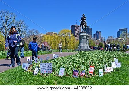 Boston - Apr 21: Support Flags Near Washington Monument In Public Garden In Boston, Usa On April 21,