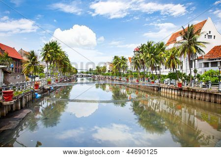 Jakarta old Town  along the Smelly river.  Java island. Indonesia.