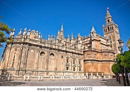Cathedral of Saint Mary  (Catedral de Santa Maria de la Sede) in Seville, Spain. Its bell tower called La Giralda.