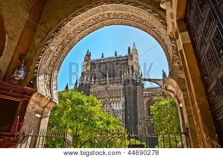 The Saint Mary cathedral  in Seville, Andalucia, Spain.