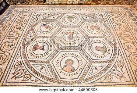Mosaic floor in the House of the Planetarium. Roman city of Italica in Sevilla, Andalusia. Spain