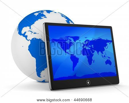 tablet on white background. Isolated 3D image