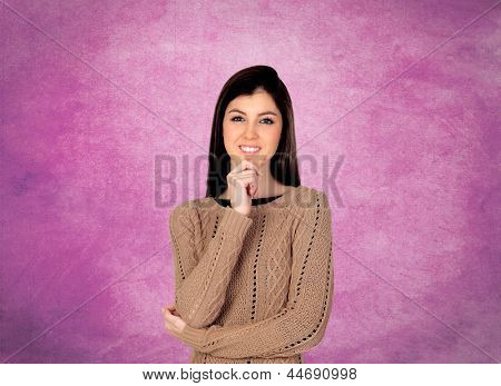 Portrait Of Young Beautiful Woman Isolated Over Pink Background