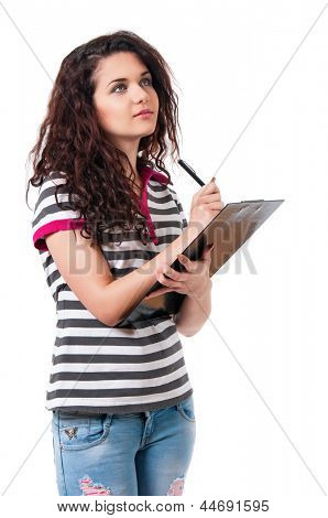 Smiling confident beautiful girl holding black folder and pen, isolated on white background