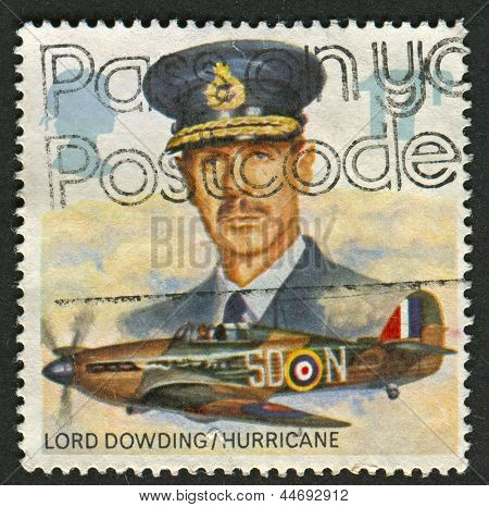 UK - CIRCA 1986: A stamp printed in UK shows image of The Lord Dowding and Hawker Hurricane Mk. I, circa 1986.