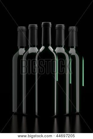 Wine Bottles against black