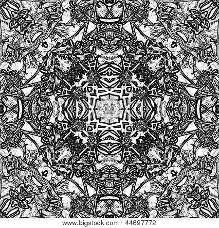 art nouveau ornamental vintage pattern in black and white colors