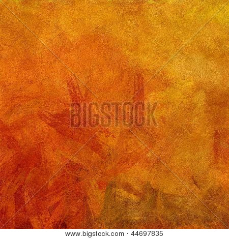 art abstract painted background with bright gold and red blots