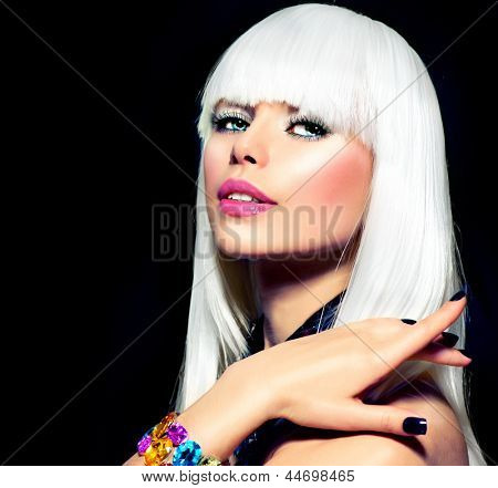 Fashion Vogue Style Model Portrait. Beauty Woman with White Hair and Black Nails. Disco Party Girl Portrait. Purple Makeup. Isolated on Black Background