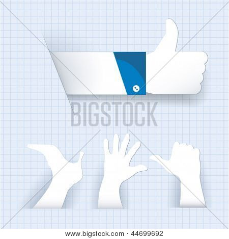 Paper like thumb up gesture and other paper cutted signs. Vector.