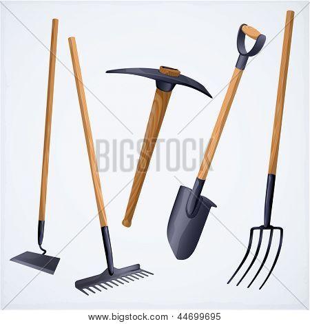 Gardening tools. Vector.