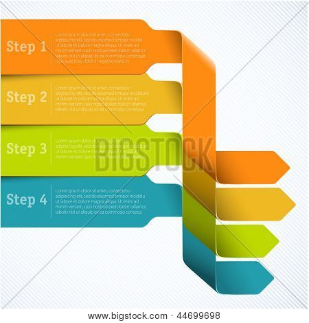 Rainbow labels template for infographics. Vector
