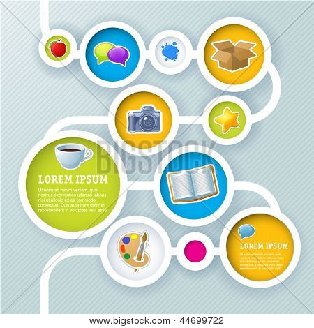 Website Infographik Sequenz Schablonen, Vector Design Frame.