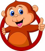 stock photo of chimp  - Vector illustration of Cute monkey cartoon thumb up - JPG