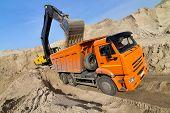 picture of dumper  - Yellow Excavator Loading Dumper Truck extreme wide - JPG