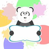 Cute Panda With Text Box, art illustration