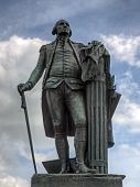 stock photo of revolutionary war  - A bronze statue of George Washington at Valley Forge National Historical Park - JPG