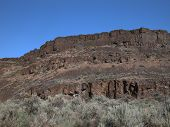 picture of sagebrush  - The Palisades canyon in central Washington features rocky mesas and sagebrush desert - JPG