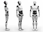 Male Robot Standing, Three Different Angles.