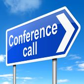 stock photo of conduction  - Illustration depicting a sign with a conference call concept - JPG