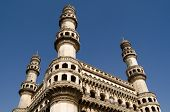 stock photo of charminar  - View of the landmark Charminar tower in central Hyderabad - JPG