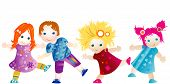 picture of school child  - group of four cute children having fun - JPG