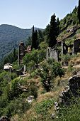 stock photo of sparta  - Mystras is a fortified town situated on Mt. Taygetos near ancient Sparta it served as the capital of the Byzantine Despotate of the Morea in the 14th and 15th centuries.