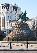 pic of hetman  - the monument to Bohdan Khmelnytsky a hetman of the Zaporizhian Cossack Hetmanate  - JPG