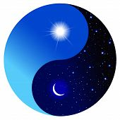 stock photo of yin  - Day and night in the symbol of Yin and Yang - JPG