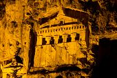 stock photo of dalyan  - Kaunian rock tombs from Dalyan Ortaca Turkey - JPG