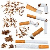 pic of stinky  - Set of cigarettes tobacco and cigarette butts - JPG