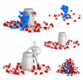 Set Of 3D Unhealthy Man With Spills And Bottle On A White Background