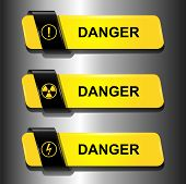 Danger buttons, signs vector set.