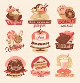stock photo of chocolate muffin  - Sweets emblems - JPG