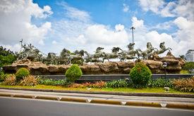 picture of mahabharata  - Krishna and Arjuna statues in Mahabharata monument in Jakarta on Java island - JPG