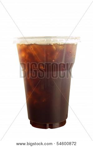 Cafe Americano Iced Coffee In Takeaway Plastic Cup Isolated