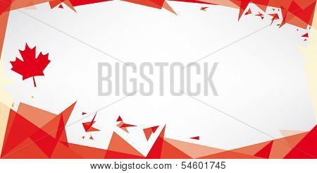 Greeting card origami of Canada. A greeting card with the theme of flag of Canada