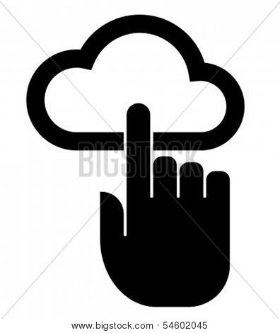Hand on cloud icon