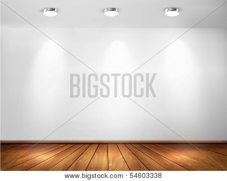 Wall with spotlights and wooden floor. Showroom concept. Vector illustration.