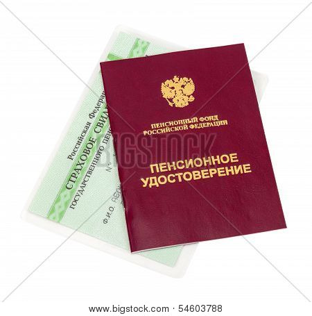 Russian Pension Certificate And Certificate Of Insurance Isolated On White Background